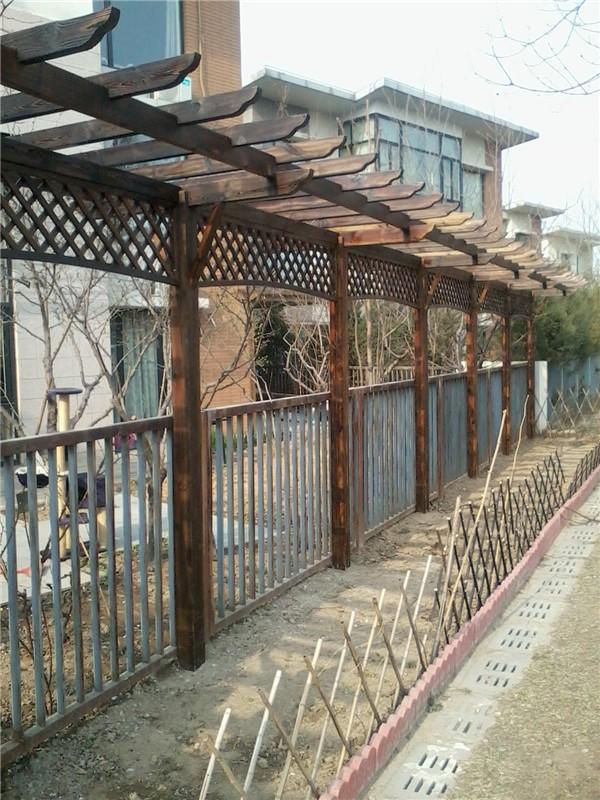 天津防腐木花架,炭化木围栏栅栏,户外防腐木地板
