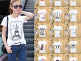 爆款服装纯棉短袖T恤女2015阿里巴巴地摊 网白色印花女式T恤批
