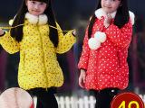 童装女童加厚棉衣冬季2014新款休闲波点圆点棉袄棉服外套一件代发