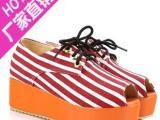 女鞋厂家直供 时尚斑马条纹鱼嘴中跟女凉鞋