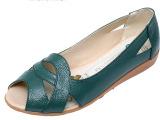 新款妈妈鞋真皮凉鞋 夏季鱼嘴鞋软底平跟中年女鞋 镂空洞洞鞋包邮