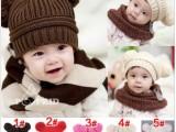 新款韩版男女宝宝帽子婴儿童针织帽双球羊羔帽秋冬毛线套头帽批发