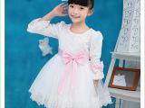 秋季新款女童连衣裙 长袖白色公主裙 花童婚纱礼服裙子 一件代发