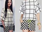 2014夏女装新款杨幂明星同款时尚黑白格蝙蝠袖上衣+短裤两件套装