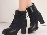 2014秋冬新款英伦风粗跟高跟短靴复古时尚系带马丁靴