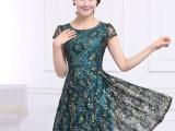 大码连衣裙 2015夏新款欧美气质修身连衣裙 短袖蕾丝连衣裙