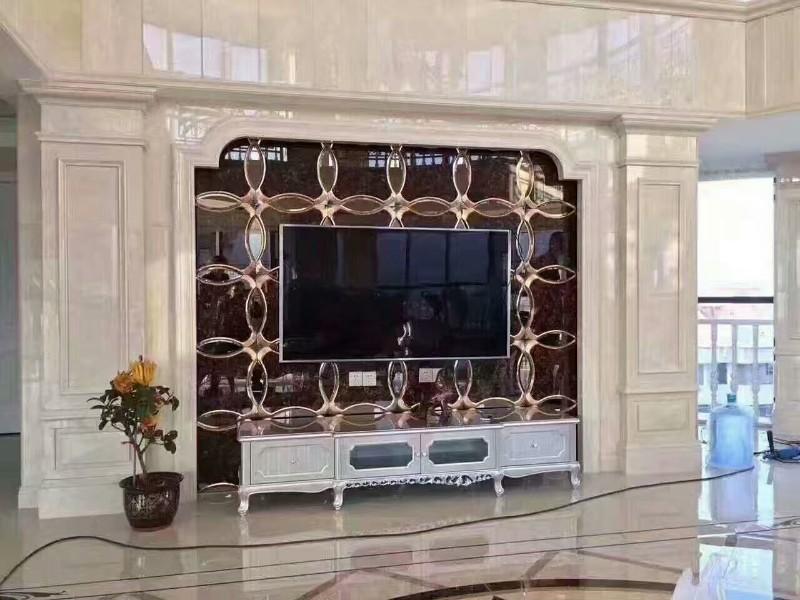 白城客厅沙发金镶瓷背景墙水刀电视墙厂家批发