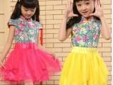 一件代发2014夏季爆款连衣裙 复古中国风下摆拼接欧根纱公主裙