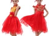 儿童民族古装女童古筝二胡古琴演出服女主持人礼服合唱演出服