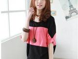 2014夏装女装韩版大码拼接蝙蝠袖宽松长款短袖可爱T恤