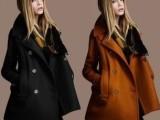 8-8 女装批发秋冬新款翻领双排扣羊毛呢大衣女外套