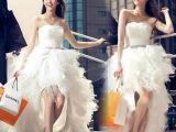 韩版新娘前短后长冬季新娘婚纱晚礼服拖尾蕾丝婚纱2014孕妇新款