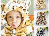 新款冬款韩版奶牛豹纹宝宝儿童帽子耳朵连体一体帽子批发
