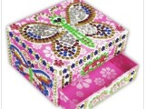 热销益智玩具批发 DIY马赛克珍珠蝴蝶珠宝盒 益智拼图拼板总汇