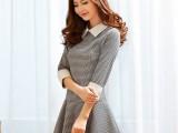 2014新款韩版修身针织雪纺拼接娃娃领打底格子连衣裙女装