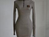 秋装新品 外贸原单高领条纹 套头毛衣 中长款针织衫 修身打底衫裙