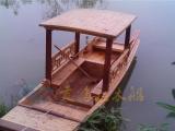 纯手工制作中式仿古木船|扬州瘦西湖电动道