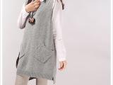 2015春装新款韩版女装V字领针织中长款A字型背心爆款马夹潮