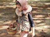 包邮 蘑菇菲韩国童装女童棉背心高档毛领宝宝棉袄儿童棉马甲棉服