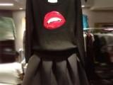 2013秋冬季新款韩版显瘦圆领长袖嘴唇毛衣短裙两件套