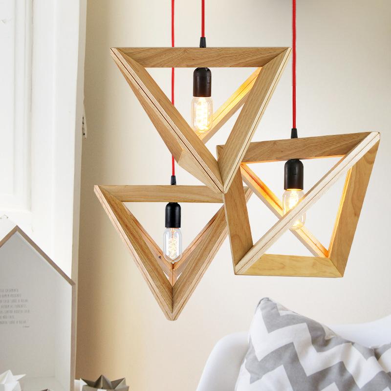 复古美式餐厅欧式创意咖啡厅吧台三角形个性艺术木头框时尚吊灯