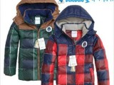 2013冬季新款经典格子男童羽绒服 小童保暖羽绒服 大码外套羽绒
