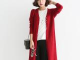 2015韩版超长款针织衫开衫女外套秋新款薄款宽松毛衣外套女