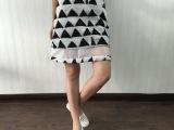 现货2015秋新款女几何三角图案拼接欧美毛呢女式半身A字裙353