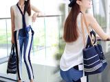 夏季新款女装欧洲站无袖雪纺衬衫+牛仔拼接哈伦裤小脚裤套装