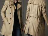 B家男士长款风衣双排扣系腰带风衣b家 男装奢华西装领外套