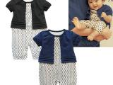 童装批发12040千趣会女童点点婴儿短袖哈衣淑女连体衣批13元