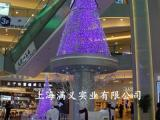 室内大型圣诞树 蓝色LED灯装饰 大型圣诞树定做 美陈圣诞布置厂
