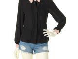 2014春夏装dazzlin外贸原单镶钻订珠风琴皱弧形摆长袖衬衫
