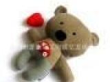 提供婴儿毛绒玩具爱心熊仔 灯芯绒布料公仔 填充婴儿玩具