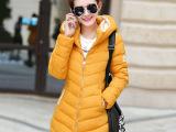 15冬季新款女式棉衣 韩版中长款连帽羽绒棉服修身棉袄外套 棉衣女