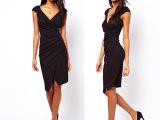 腰部褶皱不对称设计深V铅笔裙黑色短袖高弹修身OL连衣裙