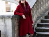 2015秋季新款欧美长款女士气质呢子大衣 女式狐狸毛领呢外套