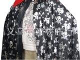 万圣节舞台装表演服针织烫金布骷髅烫金披风