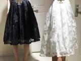 新款A字纱网欧根纱蕾丝花朵高腰收腰拉链大裙摆长款蓬蓬裙半身裙