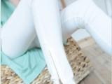 2104春秋季新款大码弹力韩国版显瘦紧身潮女装彩小脚白色下拉链