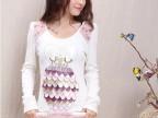 时尚 韩版重手工皮贴布长袖打底短包臀裙子 连衣裙 80176