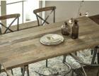 定做北欧美式乡村复古工矿实木会议桌家具卡尔兹铁艺支