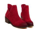 2014秋冬新款欧美磨砂真皮尖头中跟粗跟女靴V口短靴马丁靴及裸靴