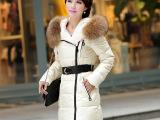 2014专柜正品女装批发新款韩版超大毛领女士修身中长款品牌羽绒服