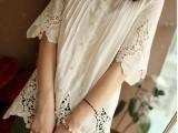 2014春夏日式森女风森林系镂空刺绣花朵装饰宽松款圆领女衬衫衬衣