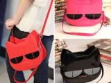 2013韩版新品阿桑娜可爱立体小猫头包漆皮手提包斜跨卡通小包包多
