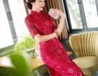 新款春季款改良长袖旗袍连衣裙金丝绒显瘦中长款修身秋装优雅红色