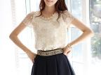 2014春季新款韩版修身女装刺绣钉珠短袖女式雪纺衫  一件代发