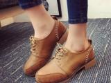 秋季布洛克女鞋英伦系带圆头复古学院风粗跟