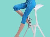 2015夏季新款七分裤女夏 显瘦小脚裤蕾丝拼接休闲裤弹力薄